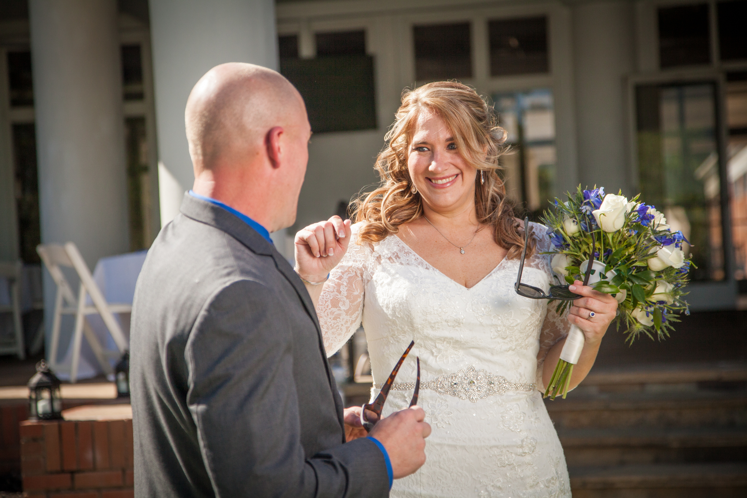 The couple share a first look before the start of the ceremony on the Kingwood Golf Course.