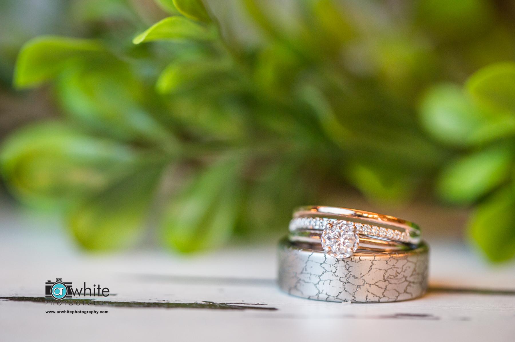 Wedding ring photograph farmhouse style.