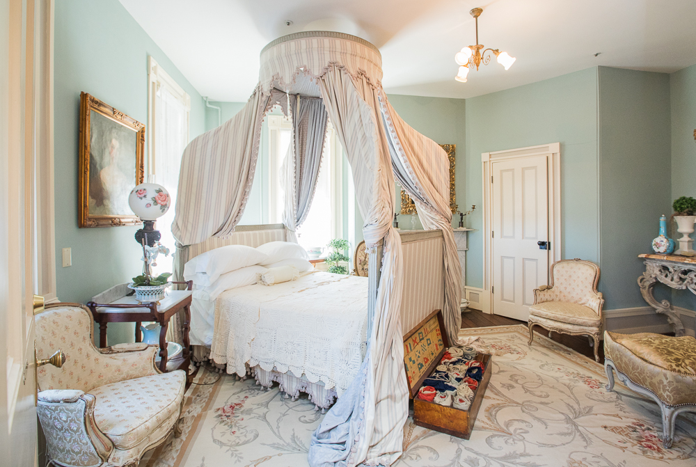 One of the 27 bedrooms in Merry Sherwood open to guests for destination weddings and events.