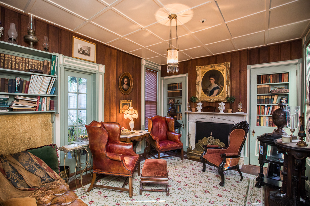 Even the mansion's den has been meticulously furnished with great attention to detail in this historic Maryland mansion.