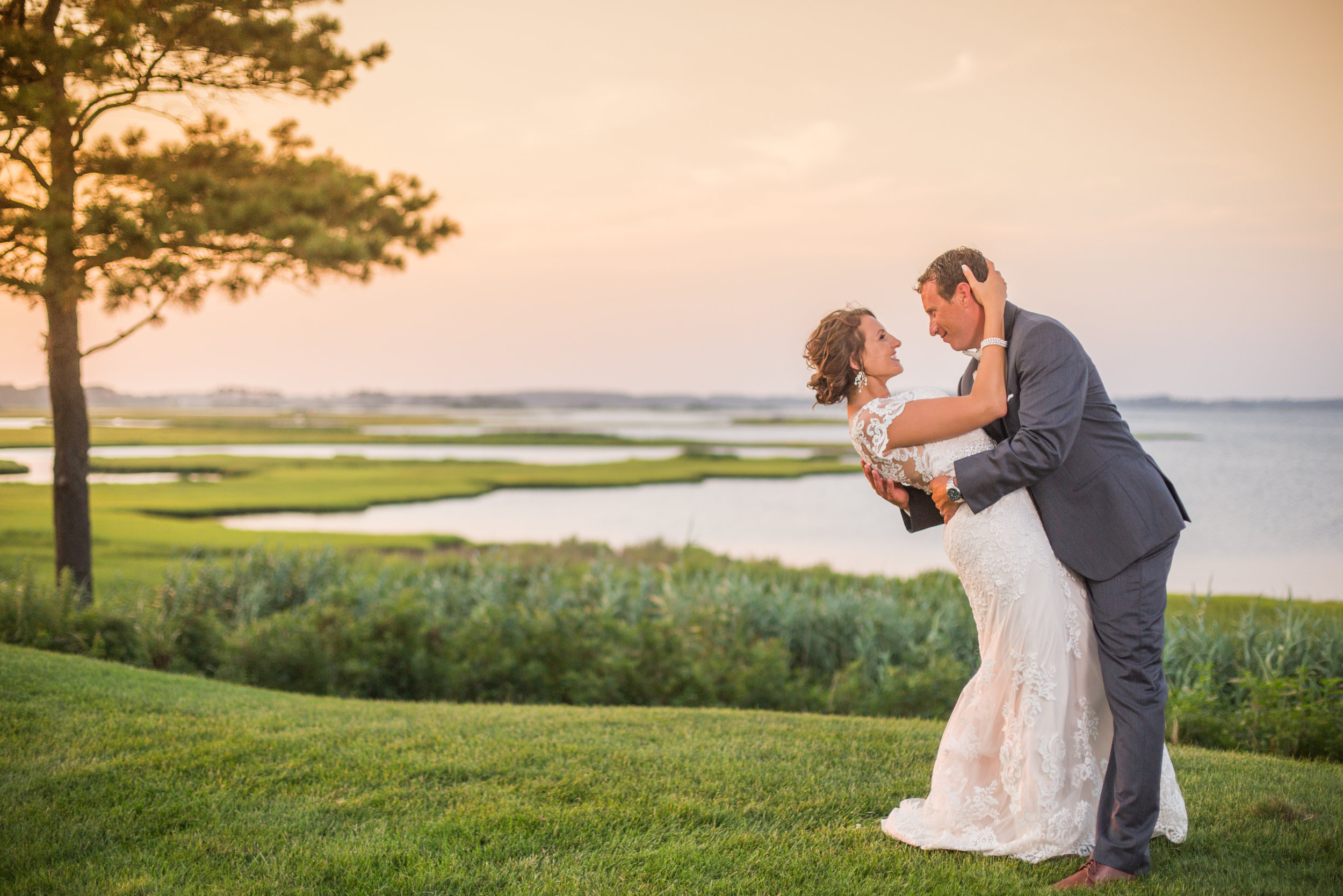 Beautiful evening at Lighthouse Sound wedding with panoramic views of Ocean City. The sunsets here are some of the most spectacular around.