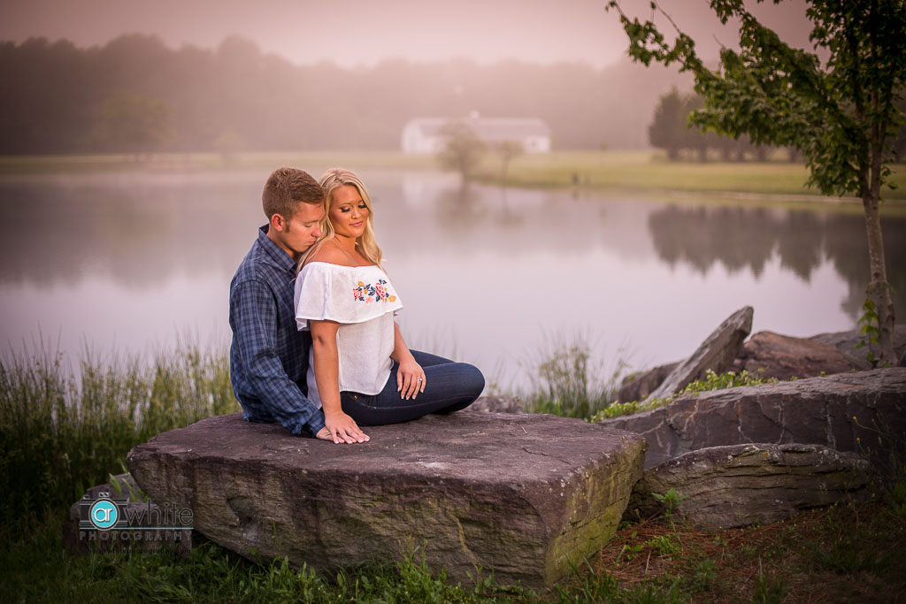 The fog rolled in just in time to create this romantic engagement photo at Smokey Hollow.