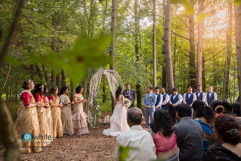 Wedding ceremony at Kylan Barn in Delmar, De.