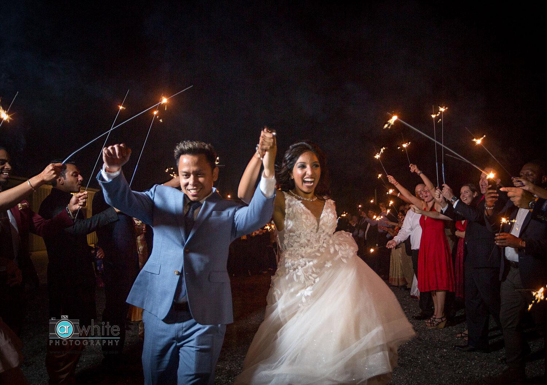 Sparkler exit at Kylan Barn wedding venue.