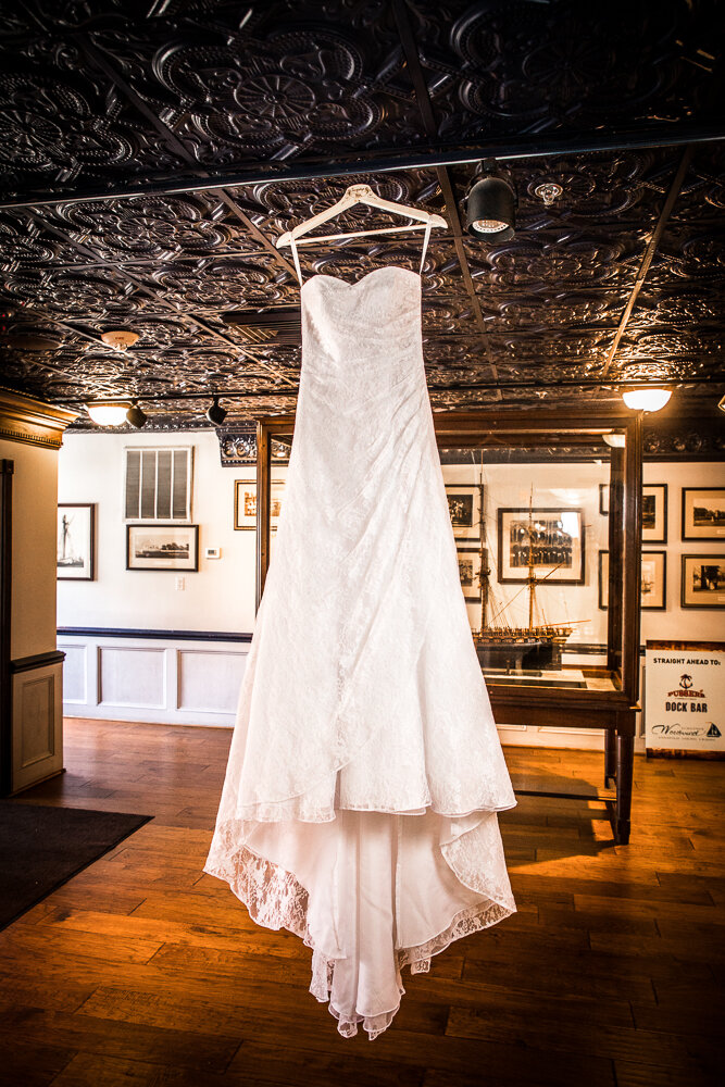 Wedding dress photography at the Annapolis Waterfront Hotel.