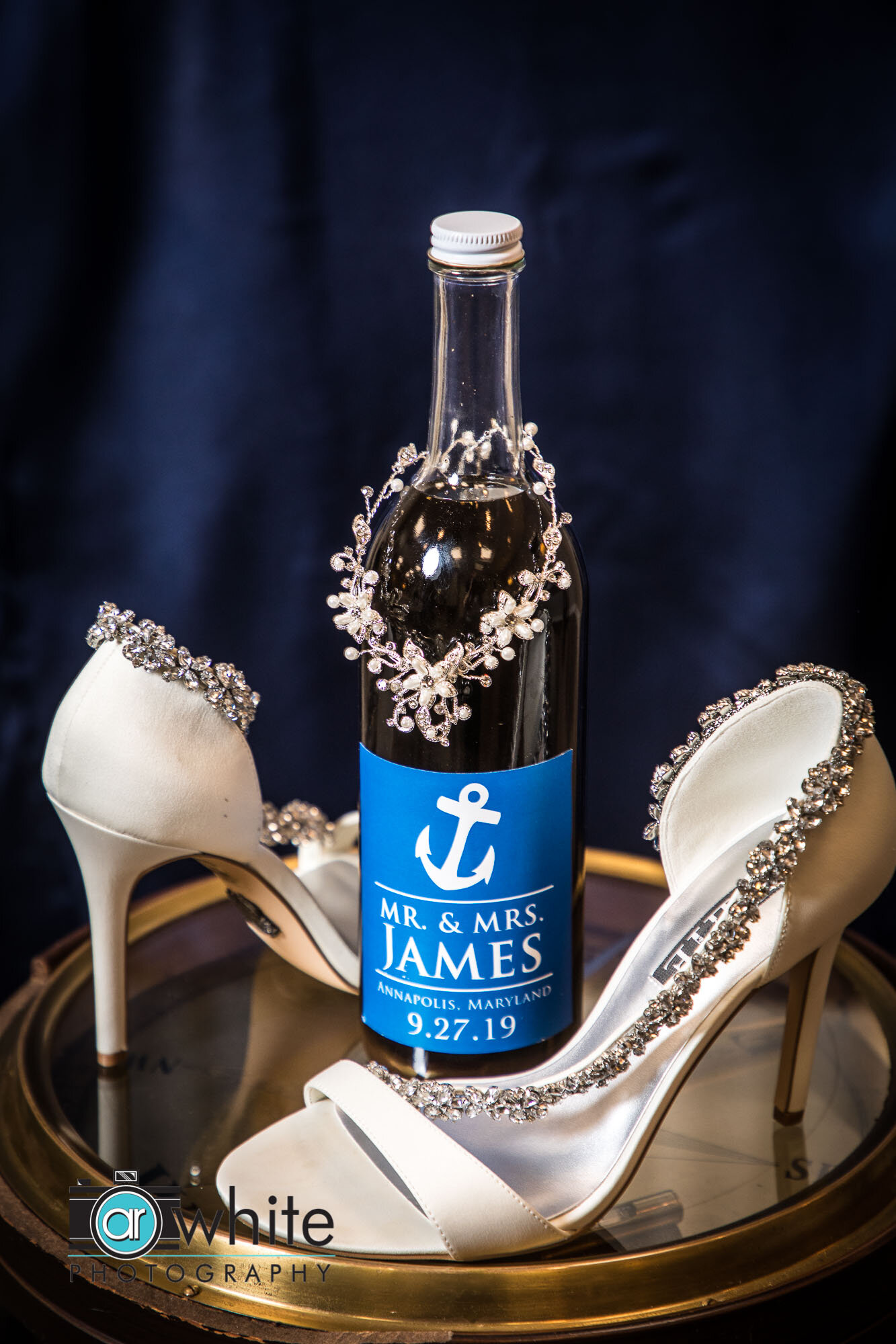 Detail photography of wedding dress shoes and jewelry on wedding day in Annapolis, Md.