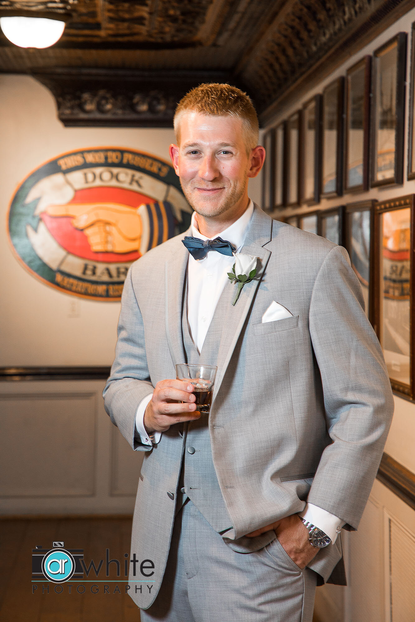 Groom portrait on wedding day in Annapolis Md.