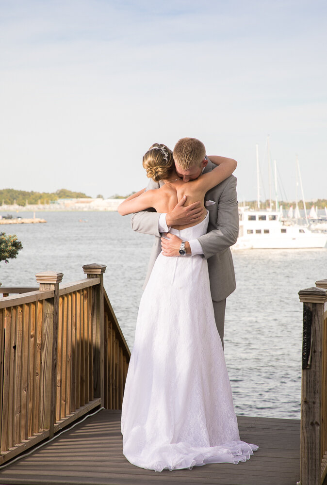 First look on wedding day in Annapolis, Maryland.