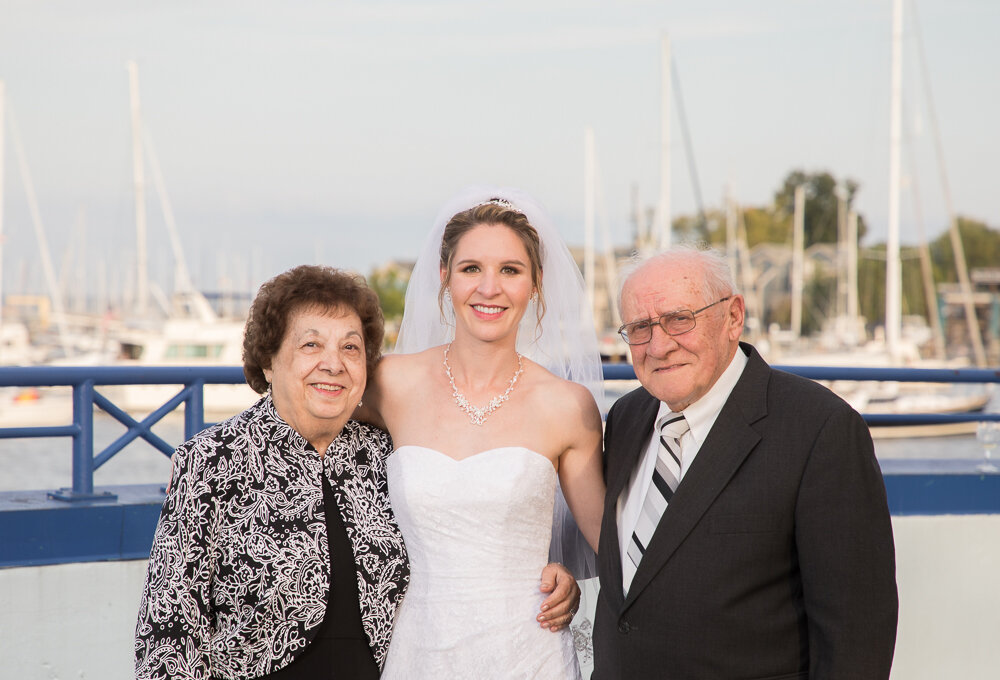 Family portraits on wedding day at the Annapolis Waterfront Hotel.