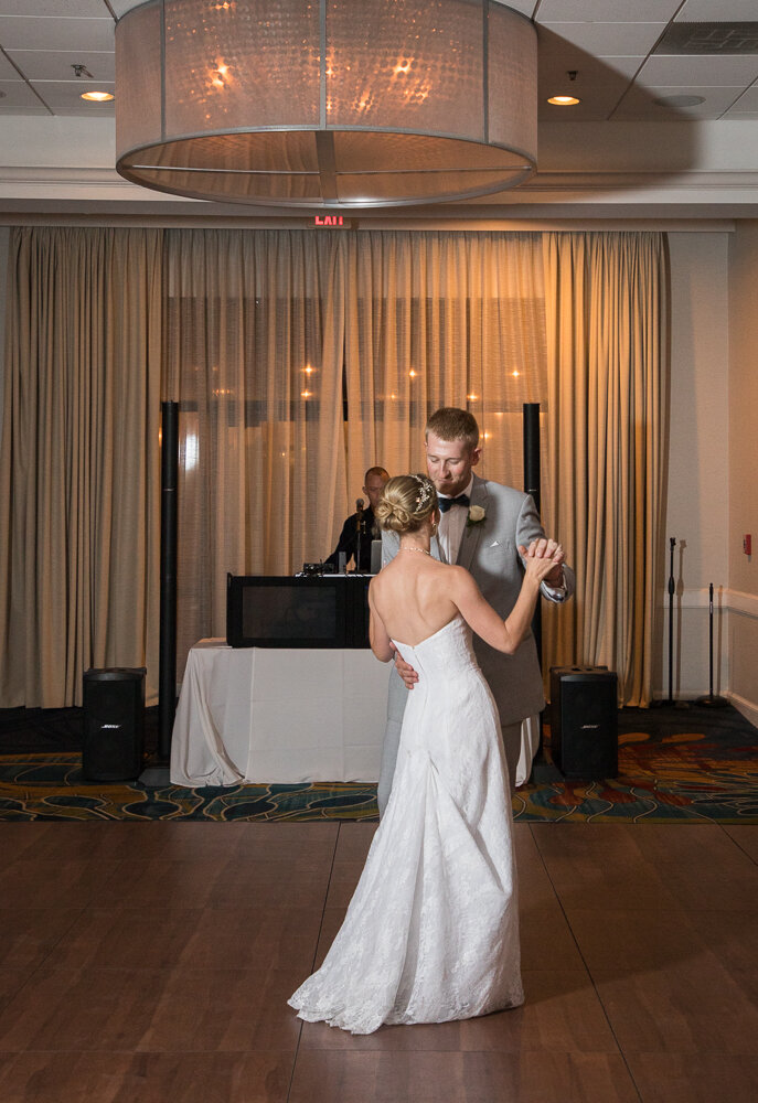 First dance on wedding day at the Annapolis Waterfront Hotel.