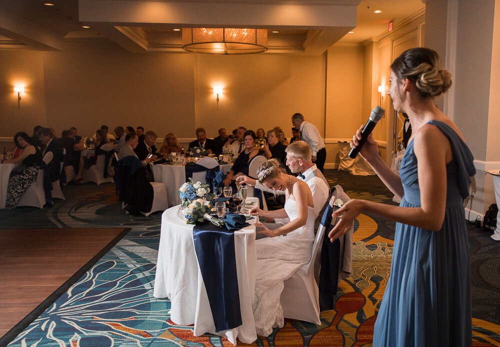 Maid of honor speech during the wedding at the Annapolis Waterfront Hotel in Annapolis Md.