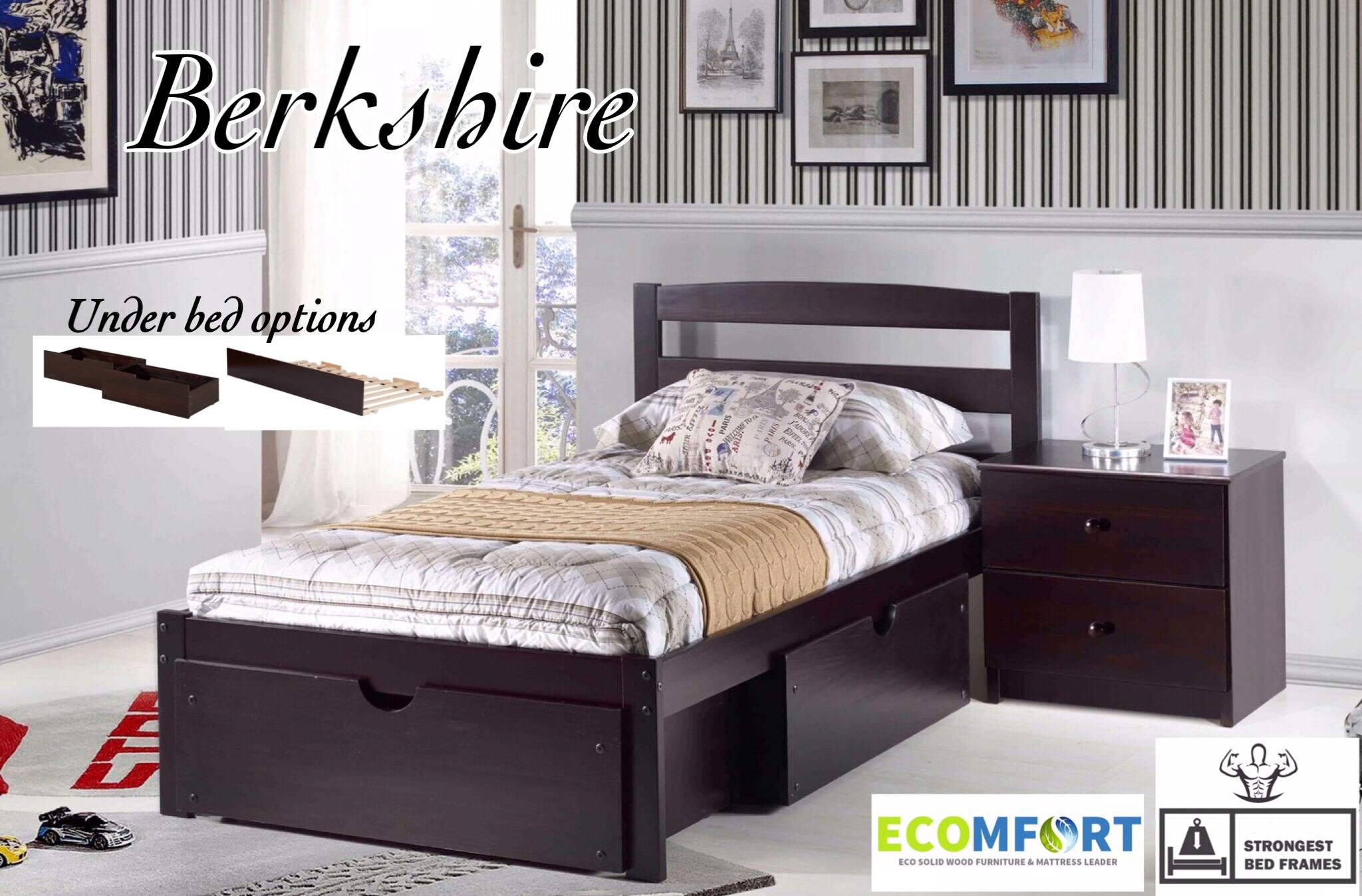 Platform Bedberkshire Solid Wood Bed Shown In Espresso With Optional Underbed Storage Drawersbunk