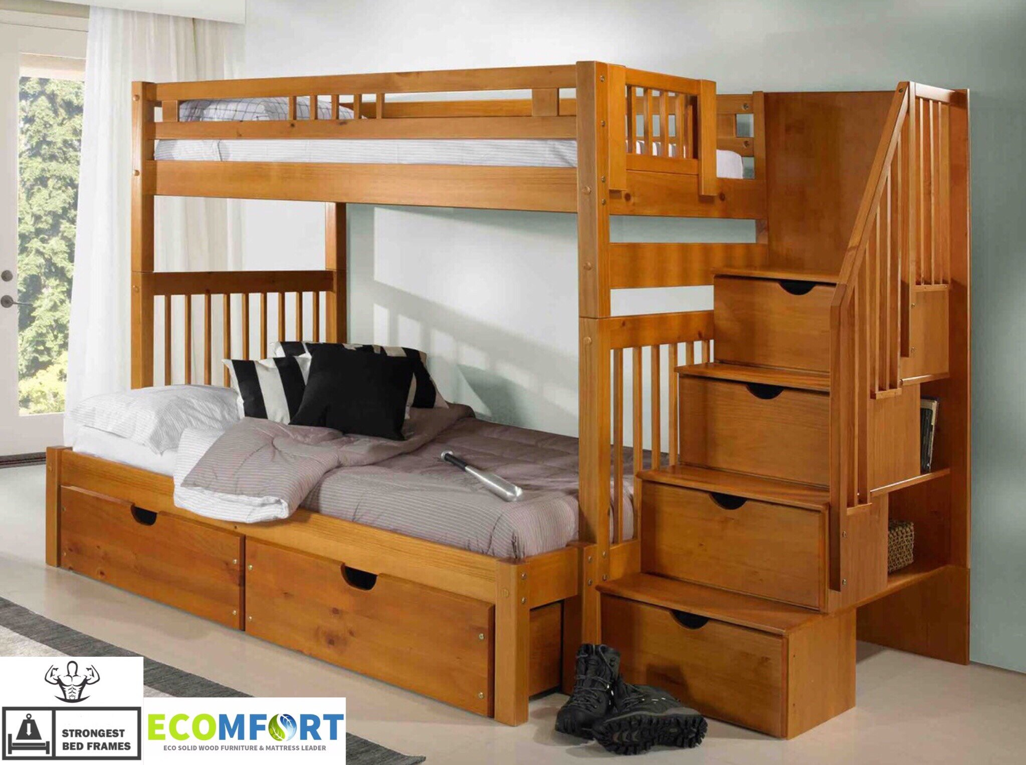 Picture of: Platform Bednew England Solid Wood Bunk Bed With Staircase Pecanbunk Bednew England Solid Wood Bunk Bed With Staircase Pecanmattressnew England Solid Wood Bunk Bed With Staircase Pecanmemory Foamnew England