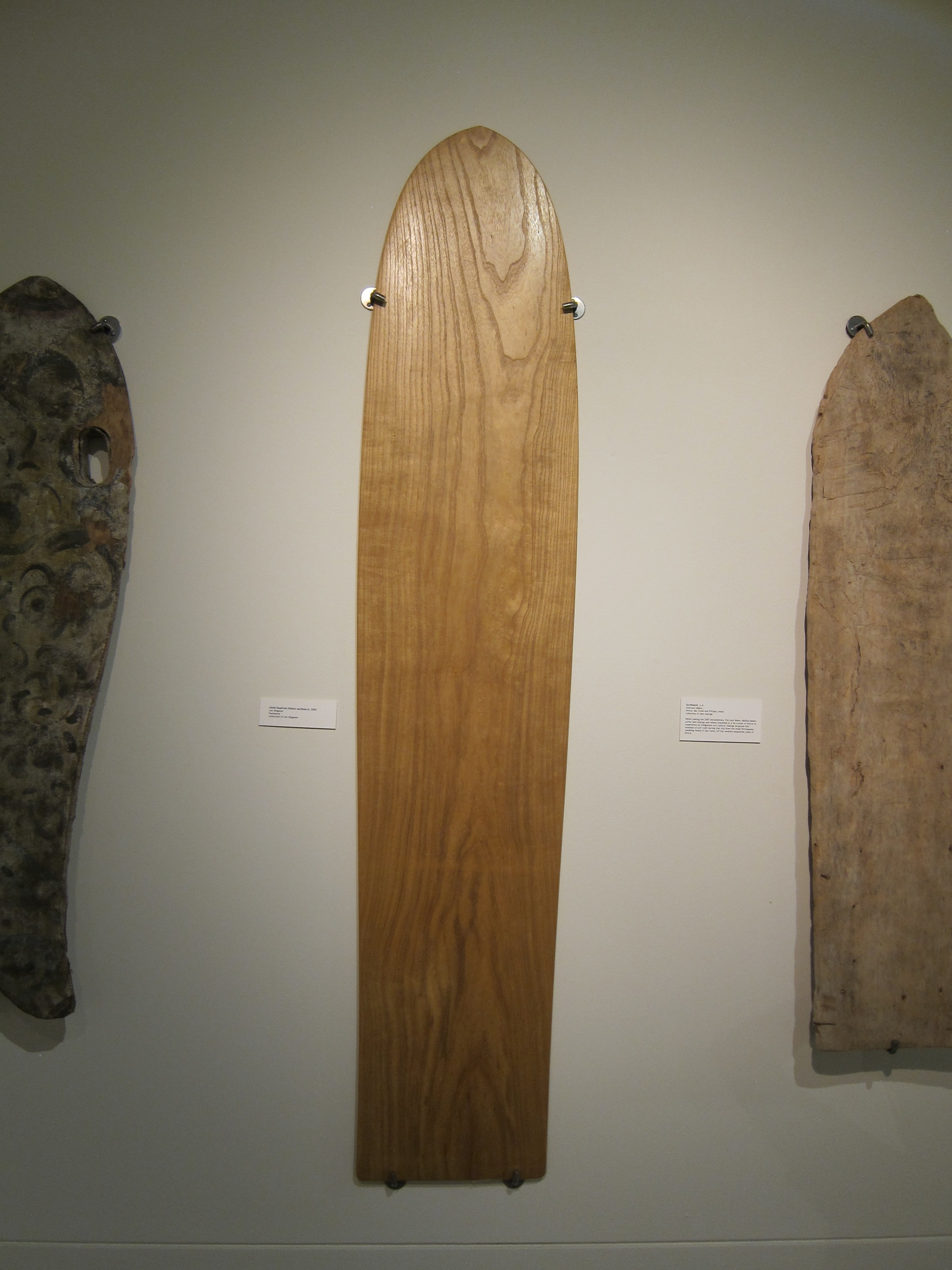 Alaia-inspired finless surfboard, 2009. Shaped by Jon Wegener. Paulownia. Part of Surf Craft Exhibit.