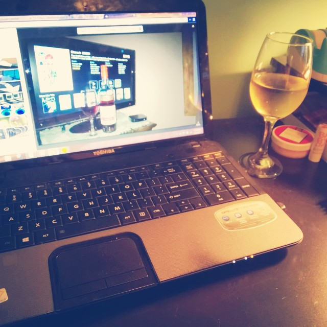 laptop and wine