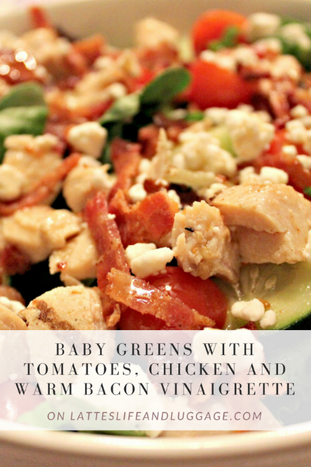 Baby Greens with Tomatoes, Chicken, and Warm Bacon Vinaigrette