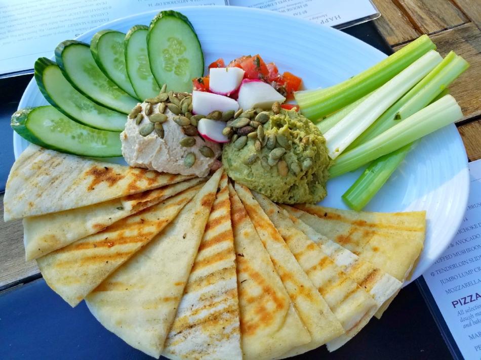 The Hummus & Avocado Platter at Pinstripes