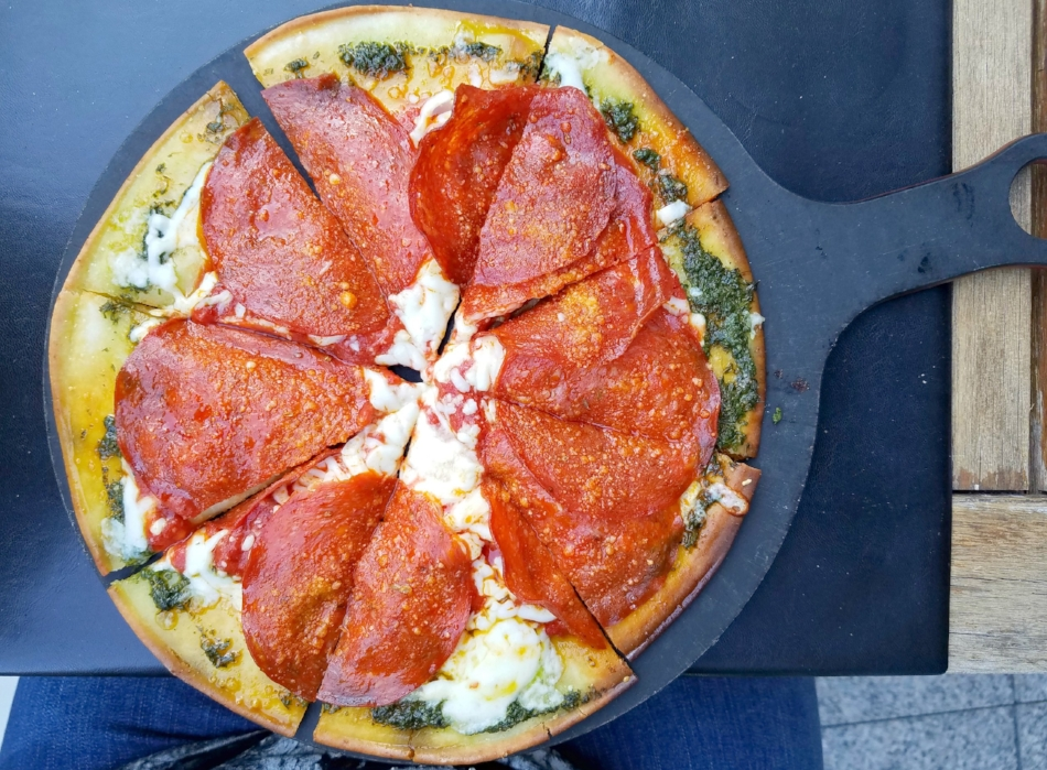 The Pepperoni Pizza with gluten-free crust at Pinstripes