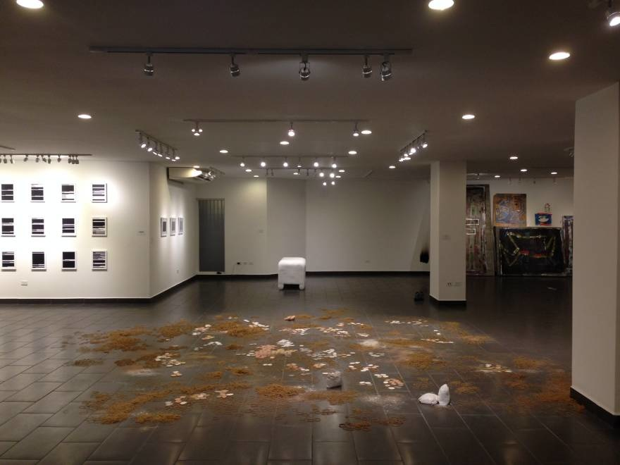 """View of two works in conversation made for the Biennale: """"floor"""" (front) and """"chest"""" (back)"""