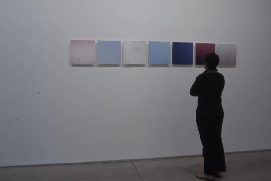 "Untitled, (skies, various familiar locations) 2003,  color photographs on plexiglas panels, 14"" x 14"" / ed 5"