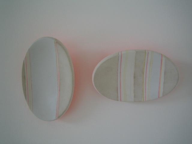 untitled  fiberglass, hydrostone, flocking material, paint, color pencil  each unit: 10 x 6 x 2 in  2005
