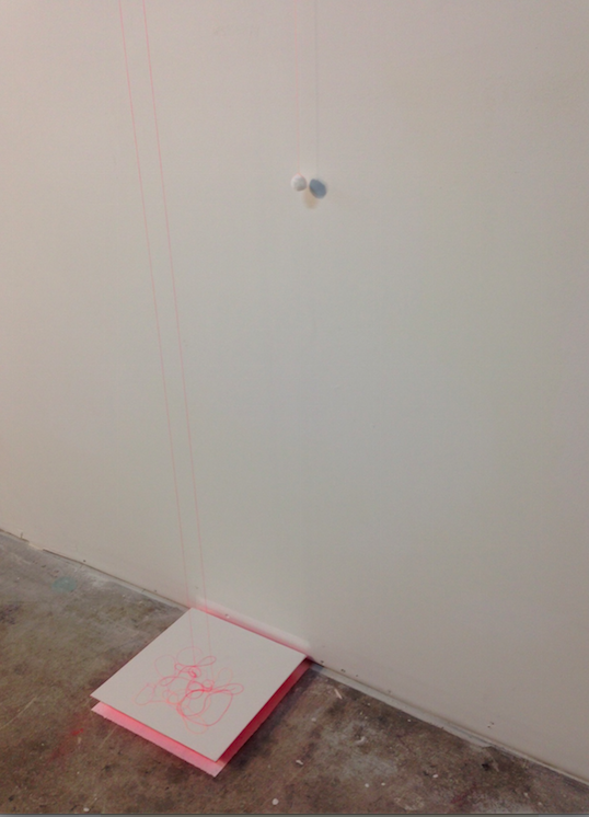 """""""improvisations, 1"""" (series) thread, cotton ball, canvas wood  dimensions variable  2014"""