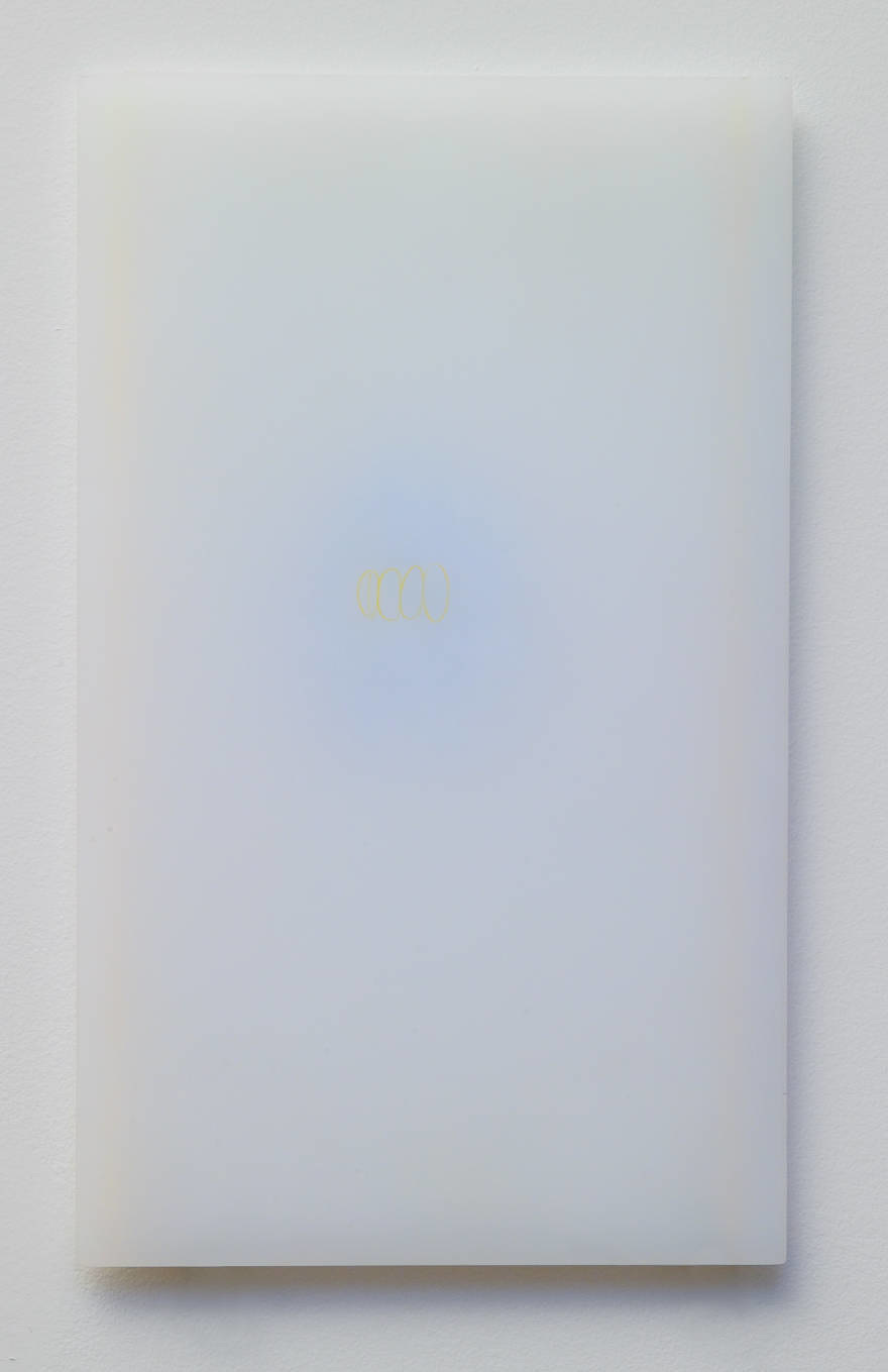 """powder drawings, 3"", (series) plexiglass, powder, tinted styrofoam, color pencil  12 x 7 in 2004"