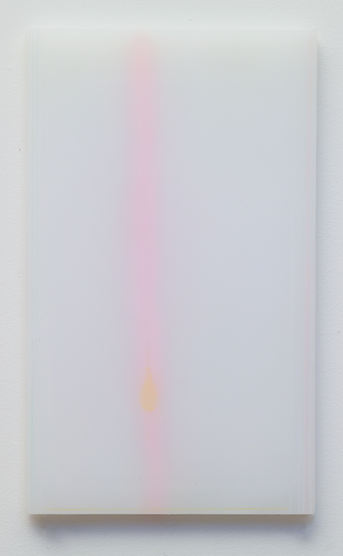 """powder drawings, 2"", (series)  plexiglass, powder, color pencil  12 x 7 in 2004"