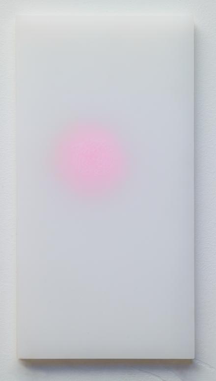 """powder drawings, 1"", (series) plexiglass, powder, color pencil  12 x 7 in 2004"