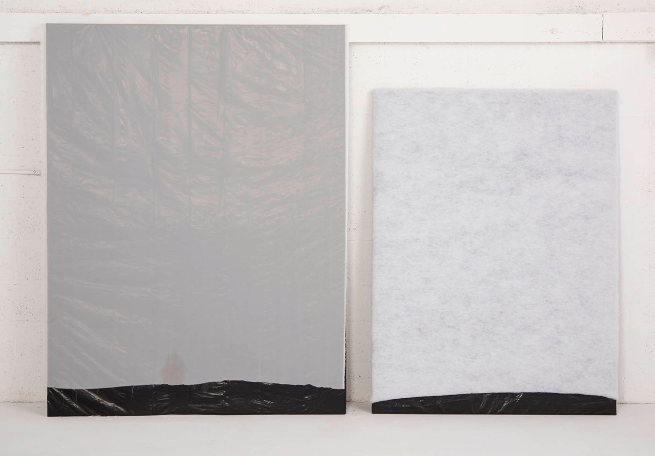 untitled fabric and plastic on wood dimensions variable  2015