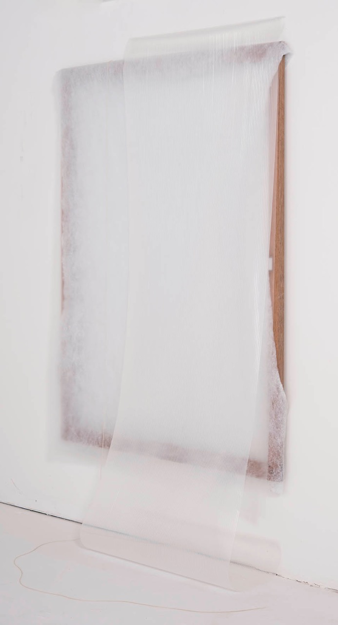 untitled cotton sheet, latex, rubber on wood 48 x 38 in 2014