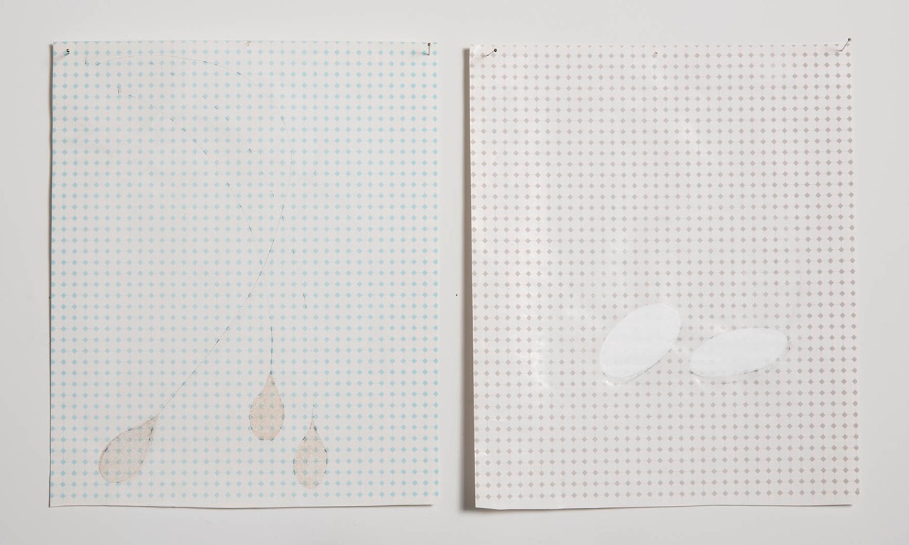 untitled drawing, dyptych  flocking material and paint  each unit 12 x 8 in  2010