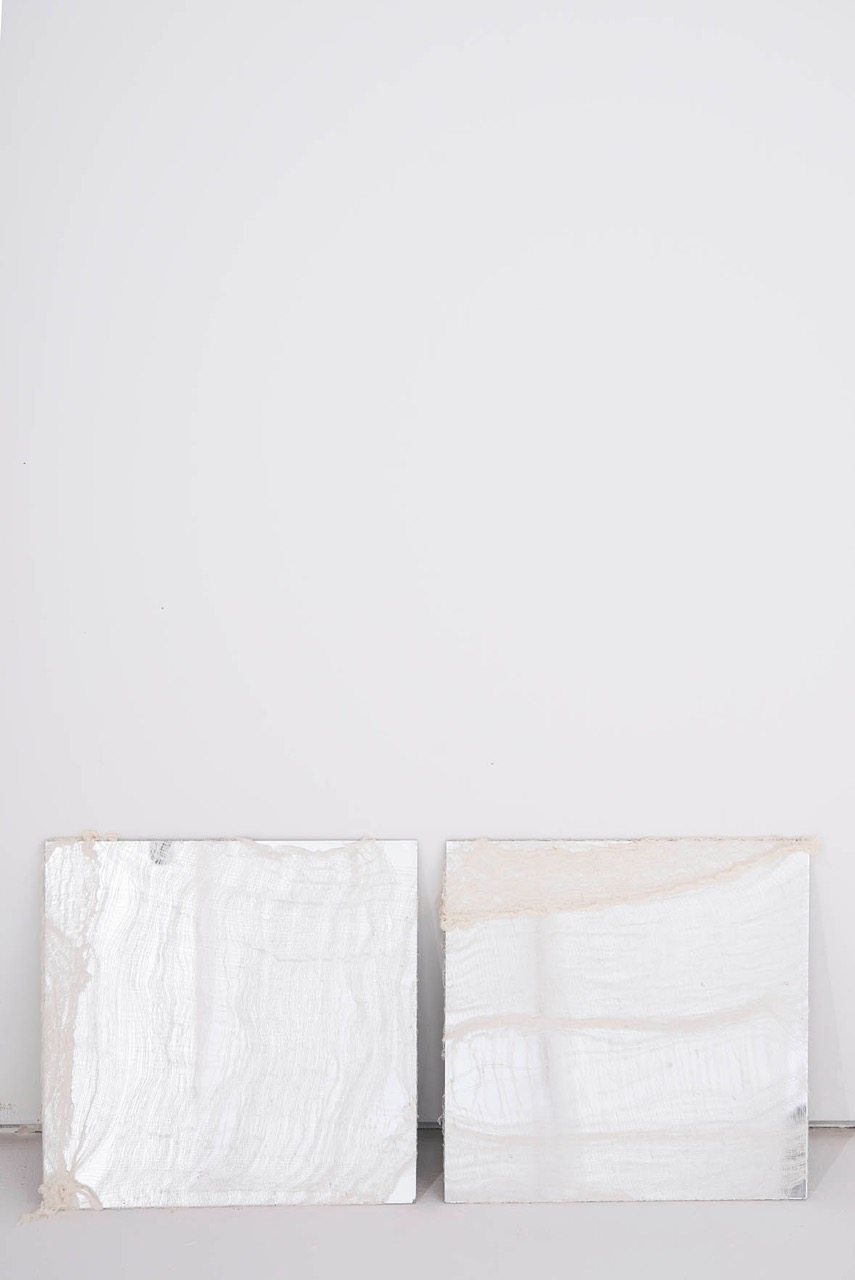 untitled gauze over mirror 18 x 18 in 2014