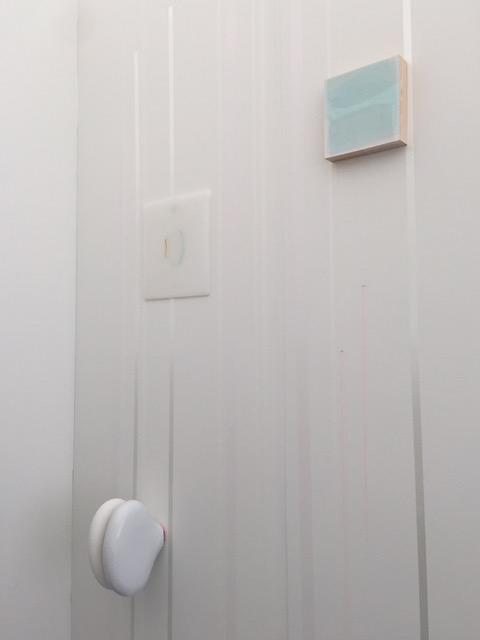 """untitled"", 2015 fiberglass, hydrostone, paint, plexiglass, wood on painted wall dimensions variable"