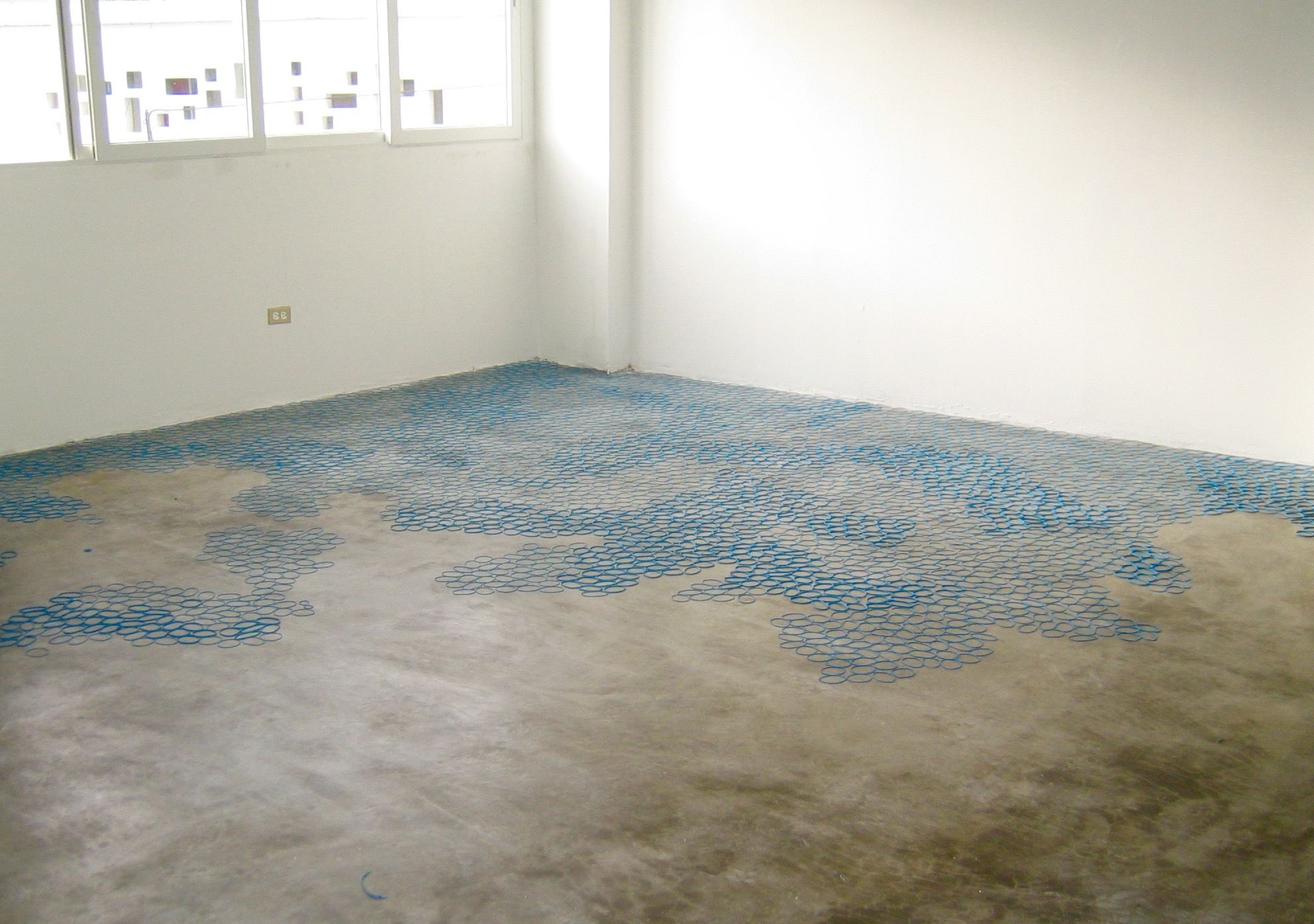 untitled site specific floor installation (3) (detail) latex dimensions variable 2009