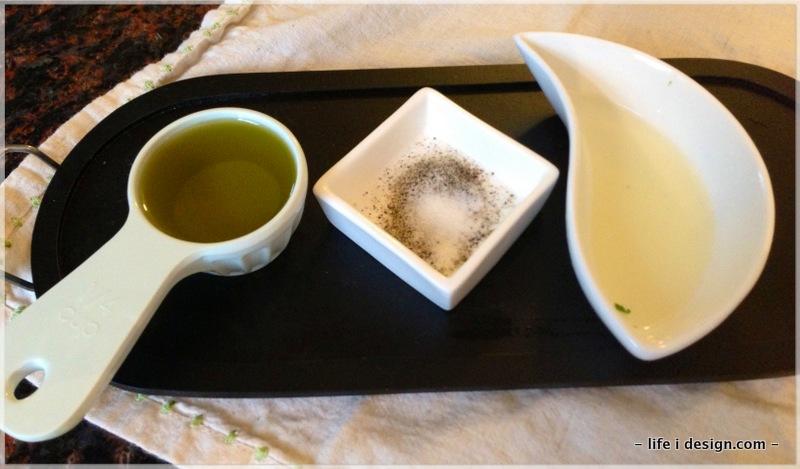 olive oil, salt and pepper, lemon juice