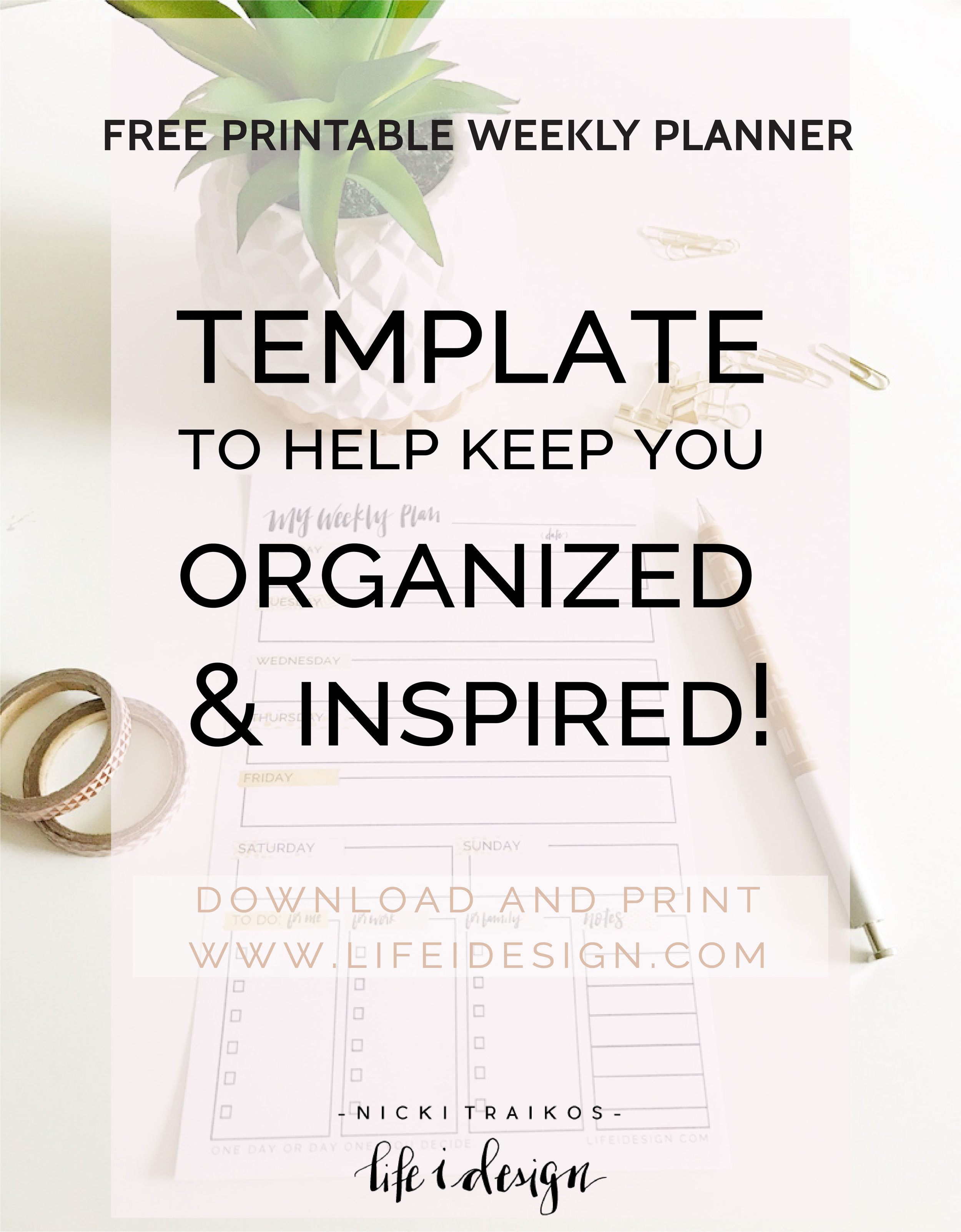 Weekly Planner Template - Everyone needs a system to help stay organized and sane right??!  I've designed these printable weekly planner templates for you to use, to help keep you organized and on top of your hectic schedule!