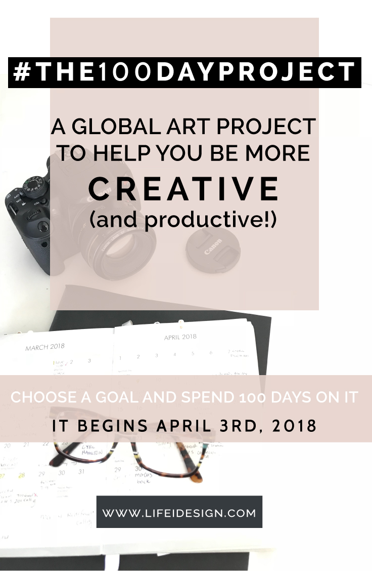 #the100dayproject where you commit to doing something creative for 100 days starting on April 3rd, 2018!