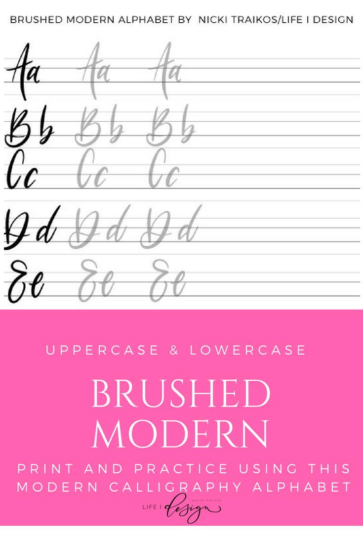 Brushed Modern Calligraphy Worksheets — Nicki Traikos   life i design