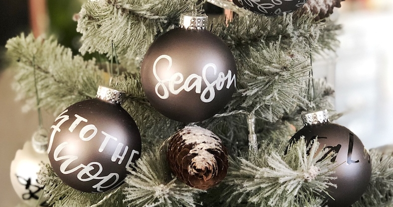 Hand lettered ornaments add a personal touch to your Christmas decorating