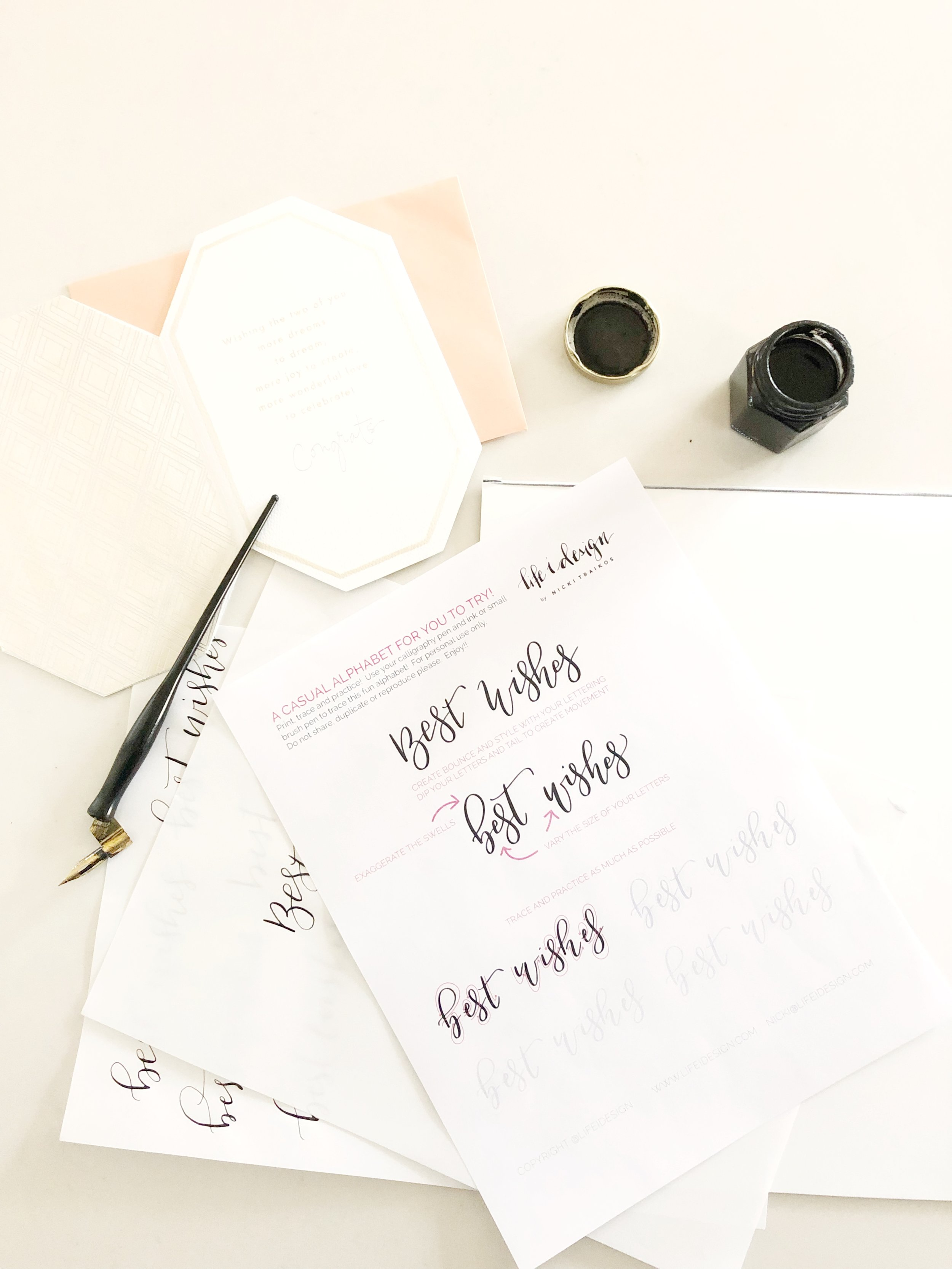 Download, print and practice calligraphy using a small brush pen or dip pen and ink!
