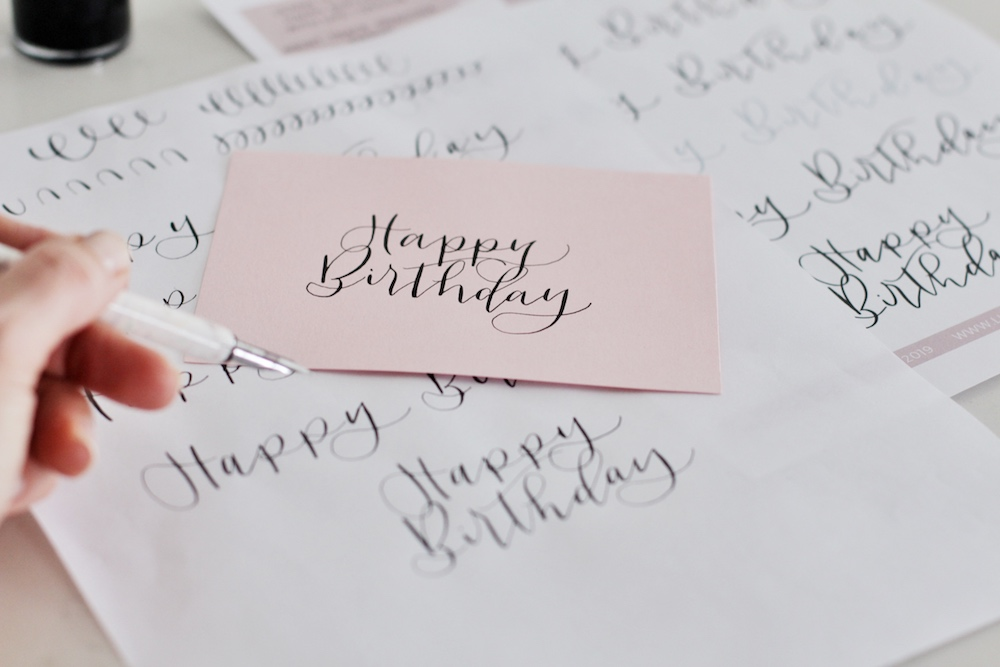 """Practice writing """"Happy Birthday"""" easily with this tracing sheet by life i design."""