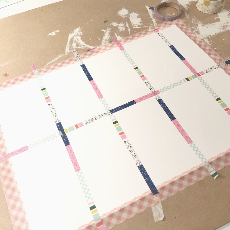 Use 11 X 14 sheet of watercolor paper and with washi tape, tape borders so you have nice, clean white border around your mini-paintings.