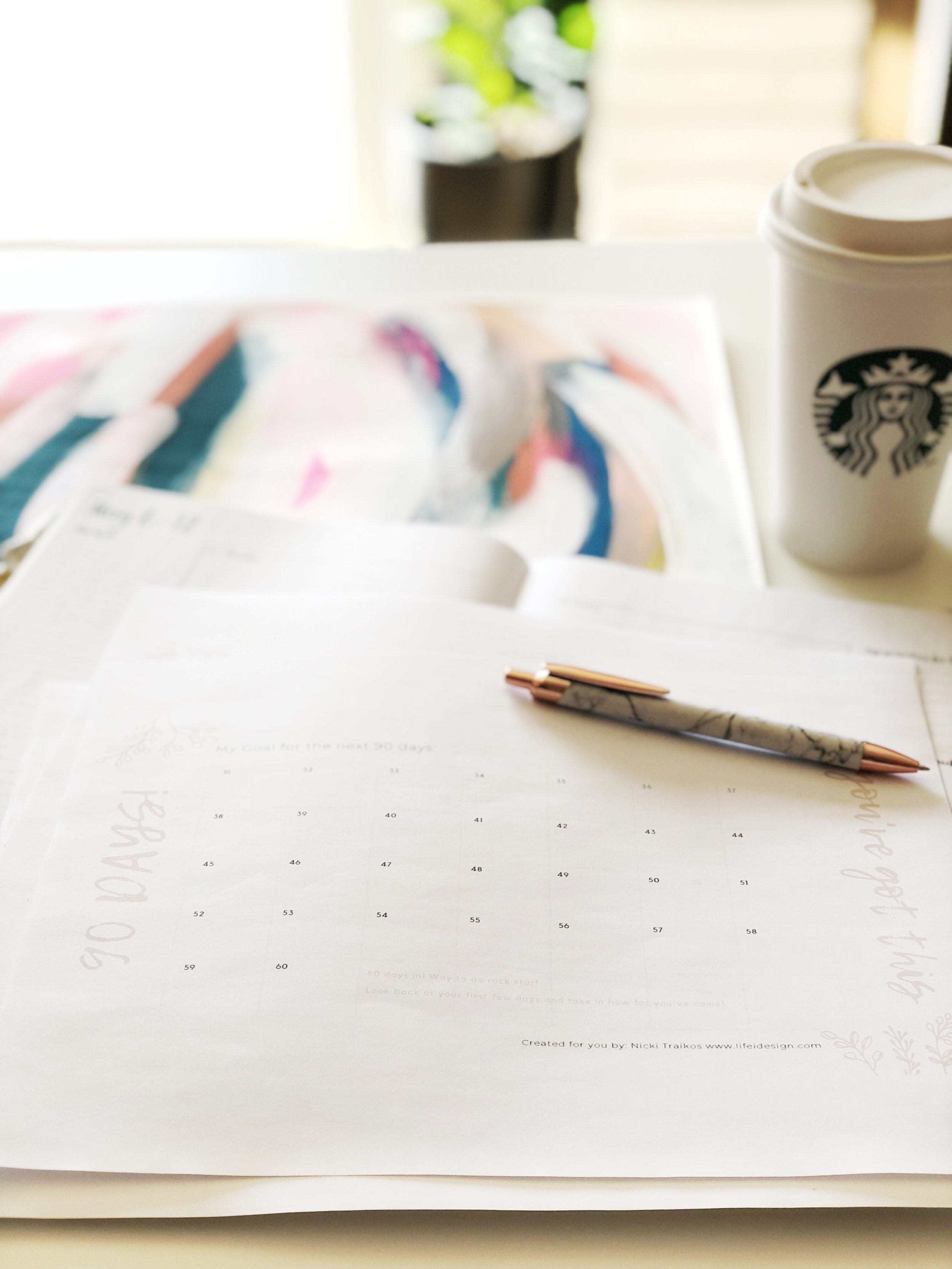 Sitting down to work in the mornings with my daily planner and a latte. I review my to-do list and get to work!