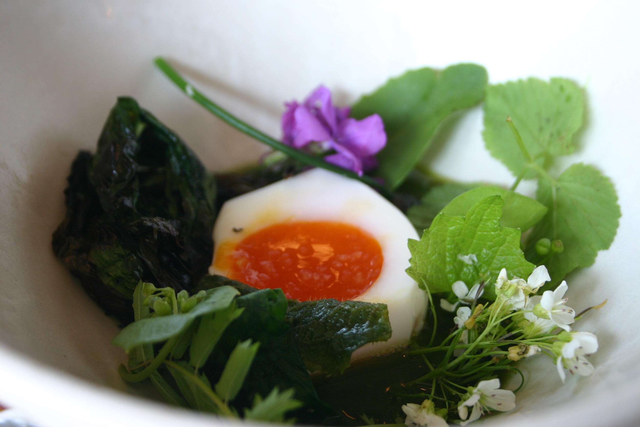 Ördek yumurtası, taze yeşillikler ve yabani sarımsak sosu