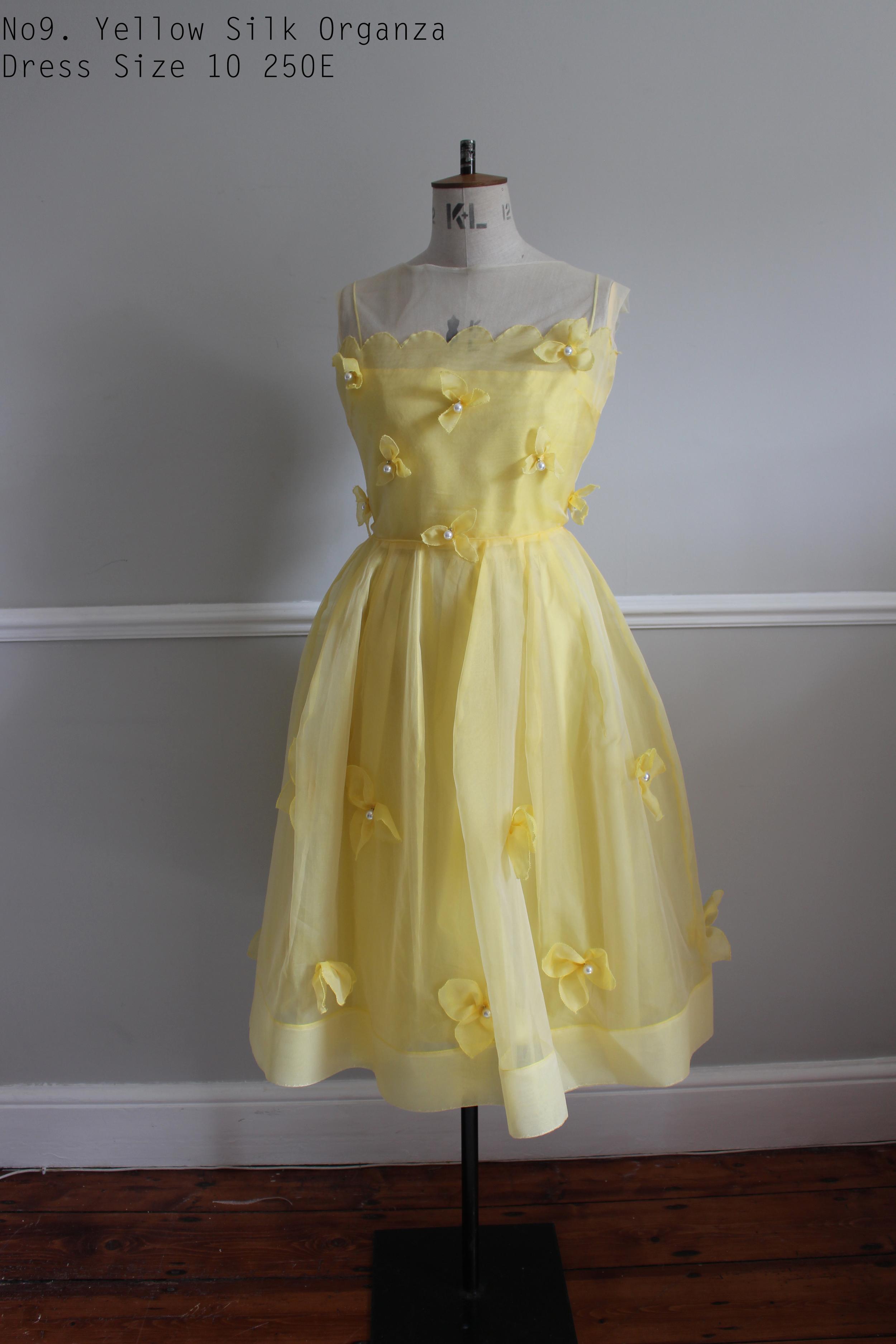 No9. Yellow Silk Organza Dress Size 10 250E.jpg
