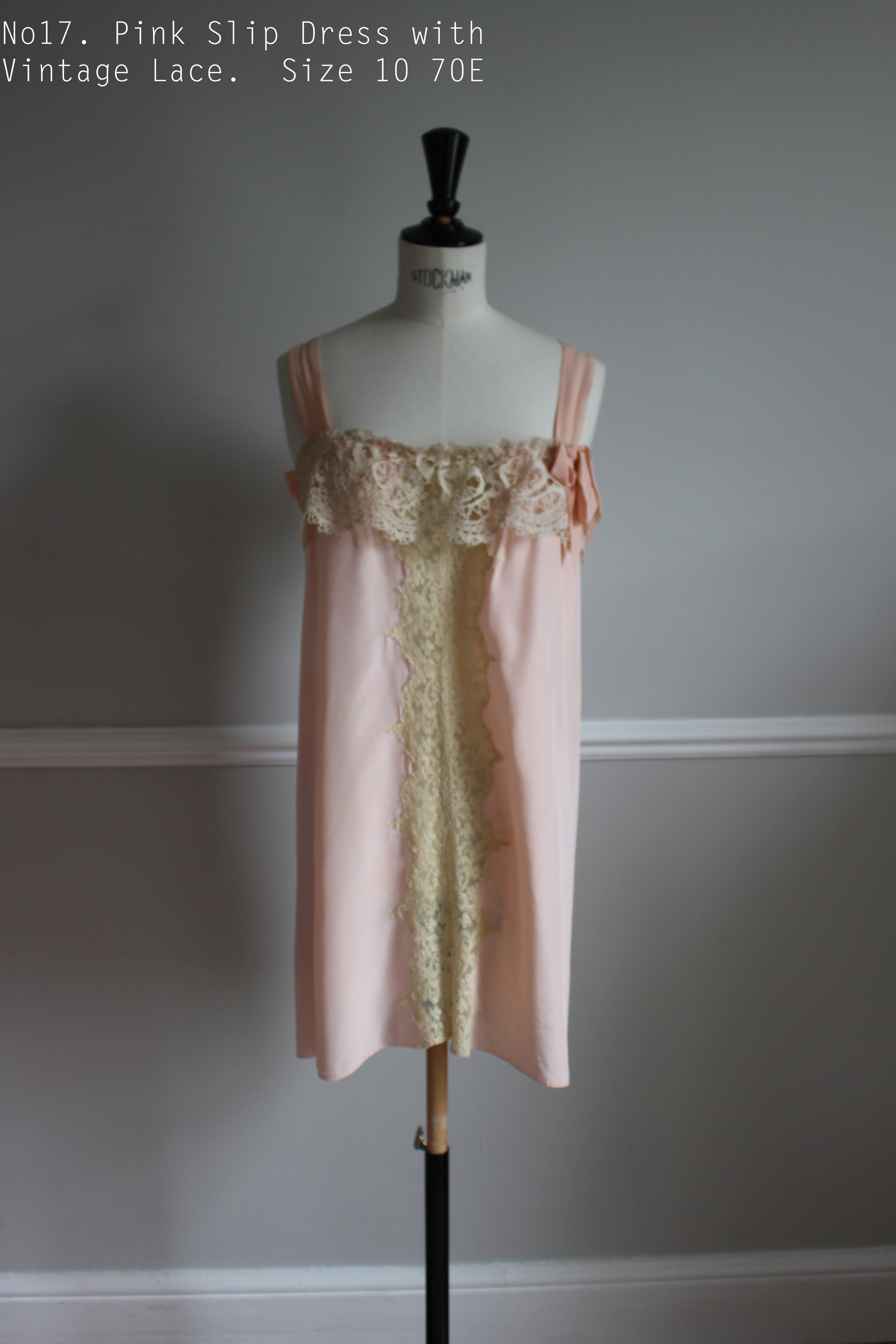 No17. Pink Slip Dress with Vintage Lace.  Size 10 70E.jpg