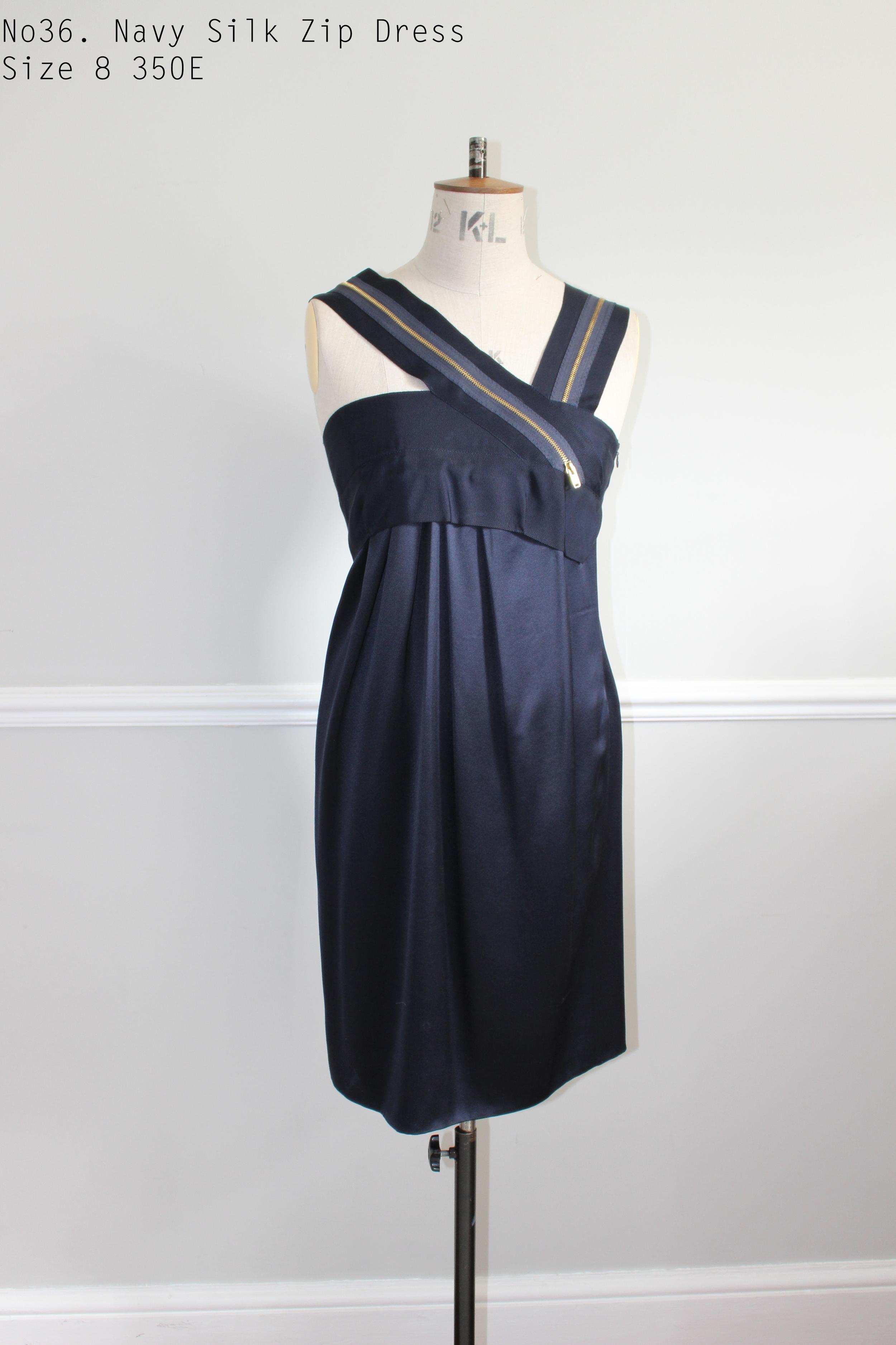 No36. Navy Silk Zip Dress Size 8 350E.jpg