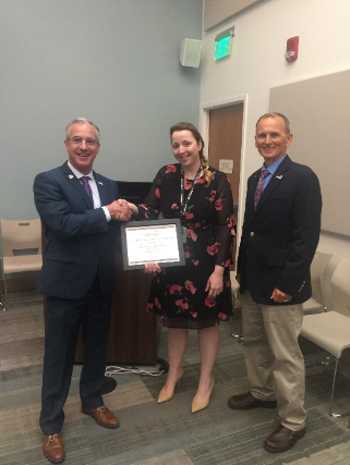 Marija Jovanovic receives her FSI Employee of the Quarter for the second Quarter Certificate. Pictured Left to right: Yorktown CEO Bryan Dyer, Marija Jovanovic, and VP Business Solutions Division Chris Hardy