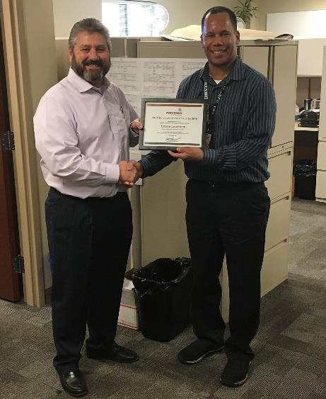 Yorktown LREC Employee of the 4th Quarter in 2018, Tyrone Lawrence